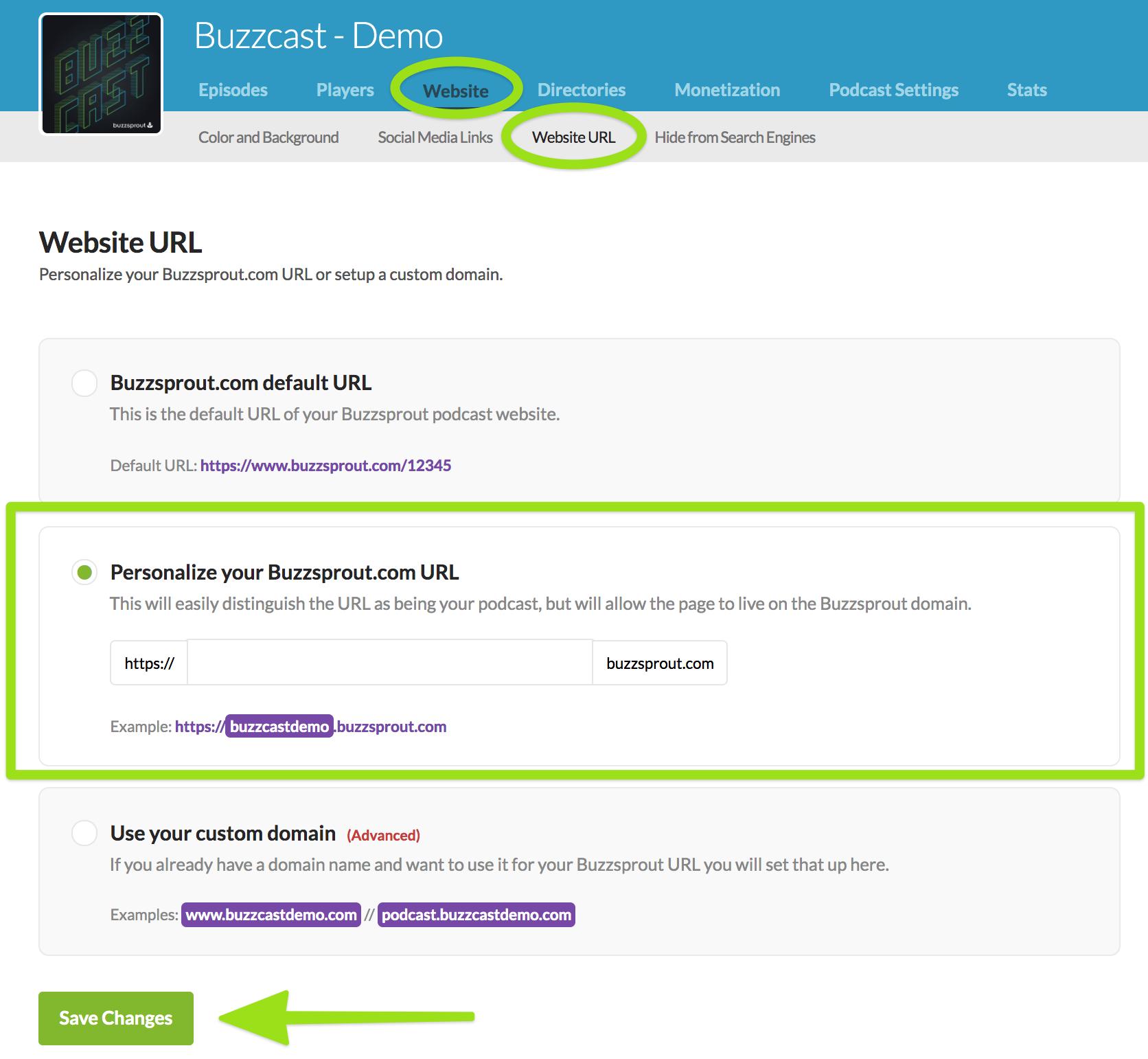 Screenshot of website url page, highlighting personalized URL field