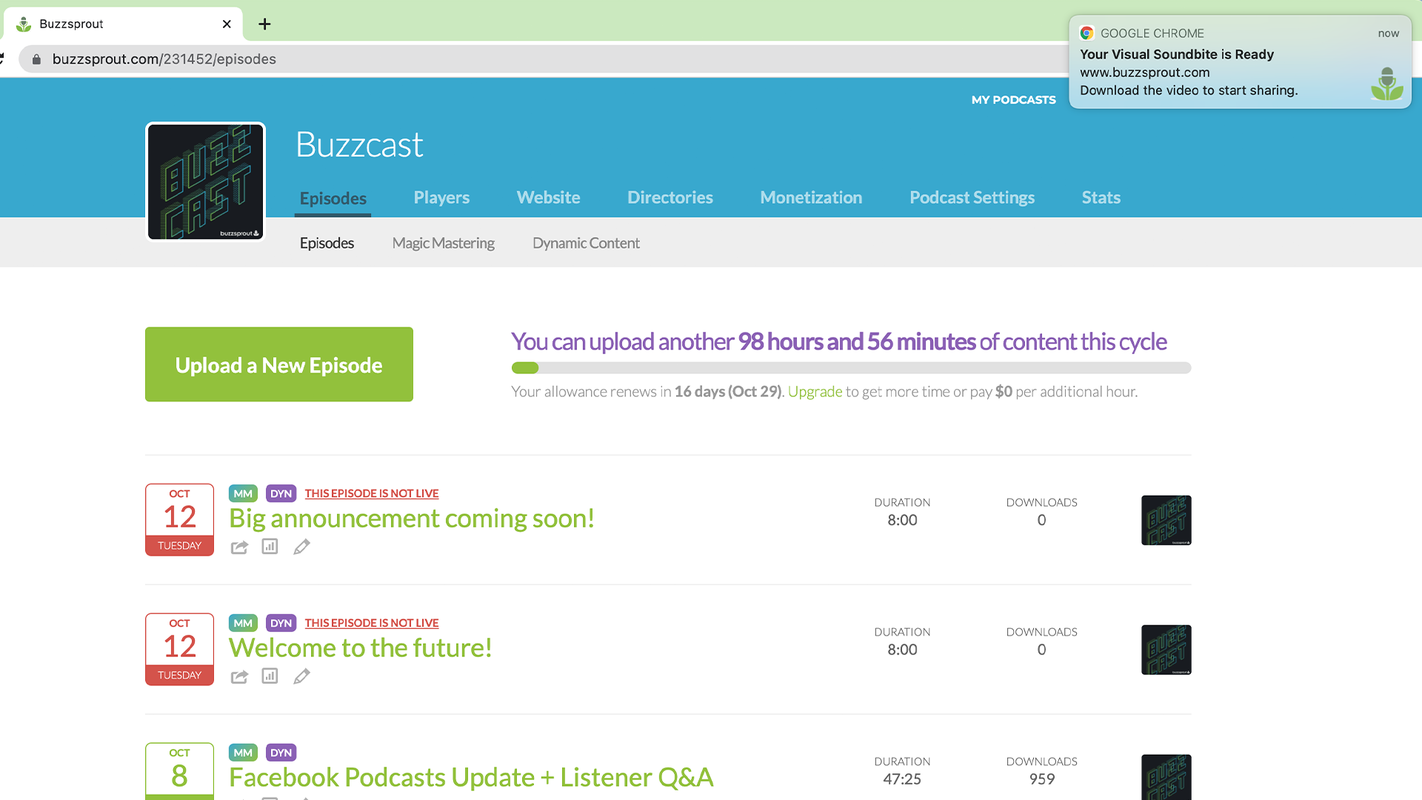 Web notifcations in Buzzsprout