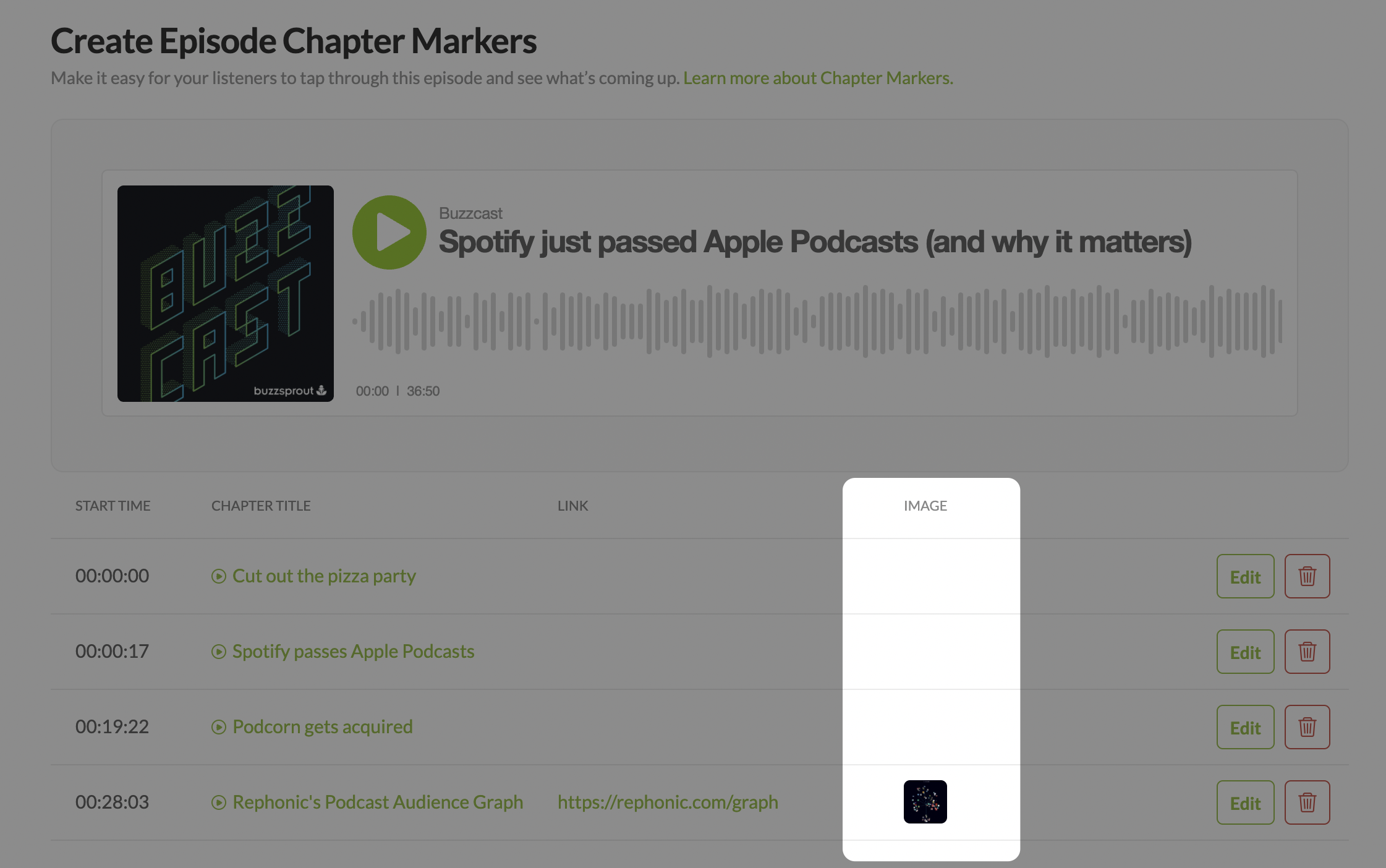 Adding images to podcast chapter marker