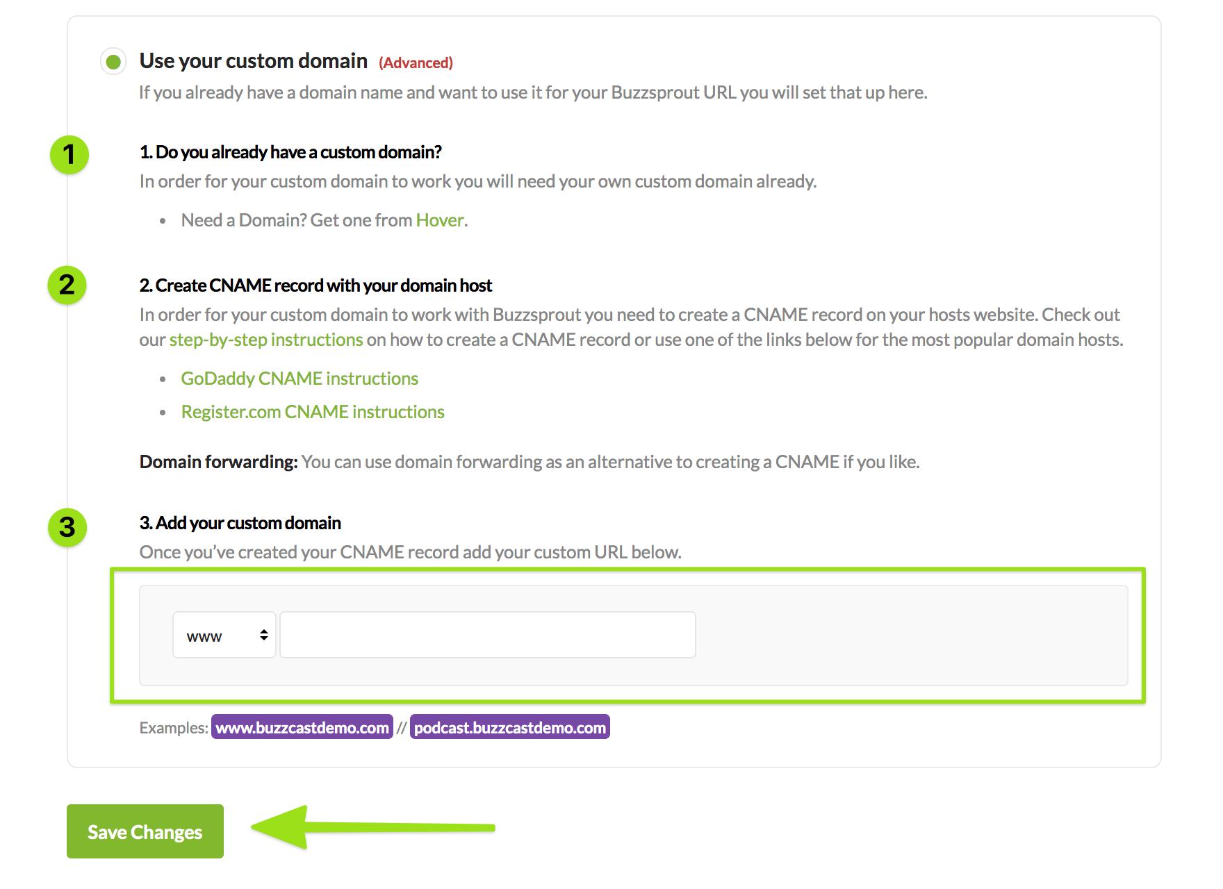 Screenshot of custom domains page