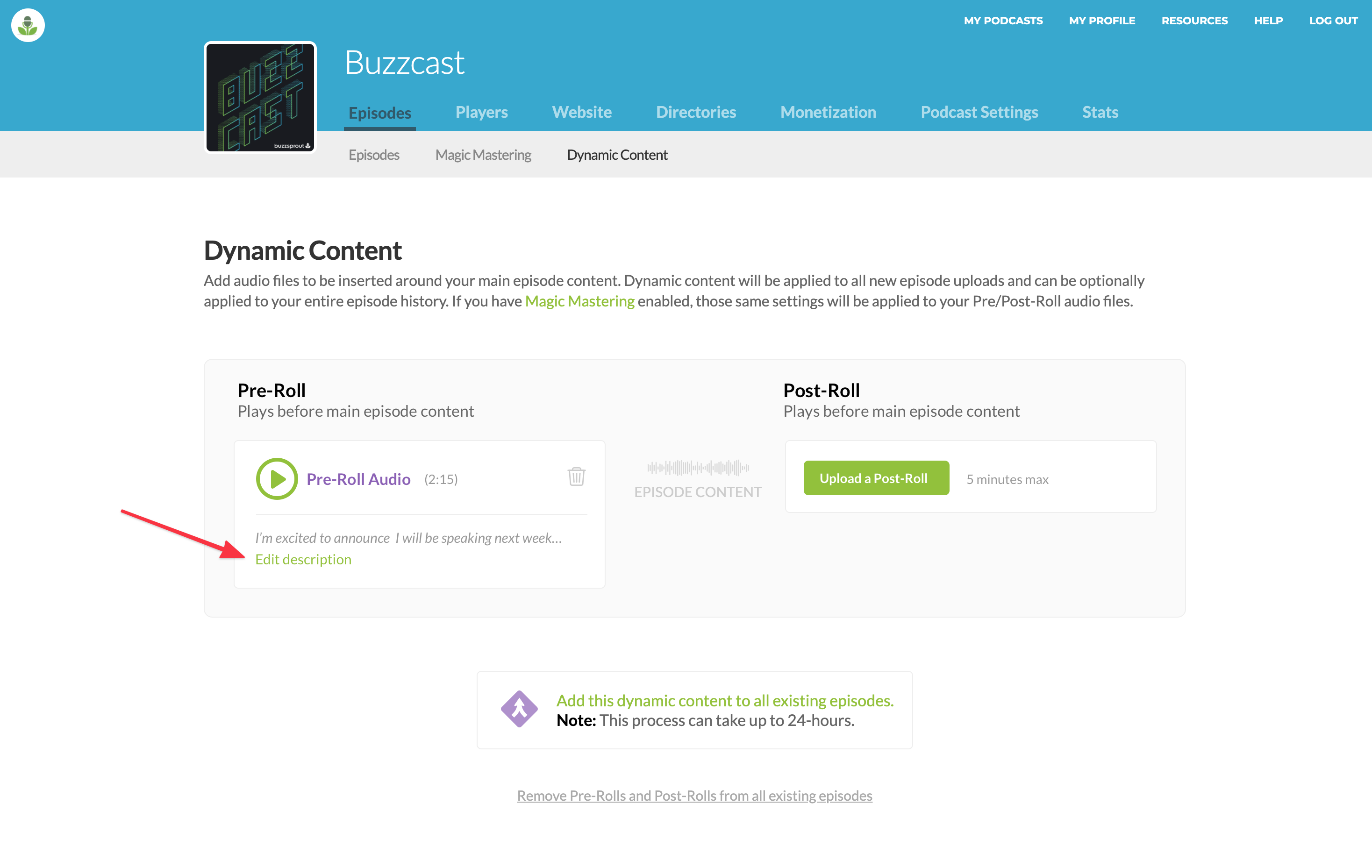 Dynamic Descriptions on Buzzsprout