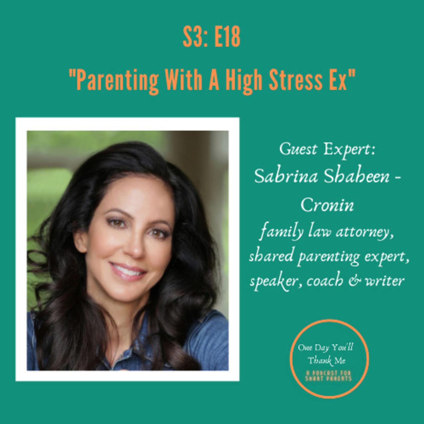 S3: E18 Guest Expert: Sabrina Shaheen Cronin, Shared Parenting Expert, Parenting with a High-Stress Ex