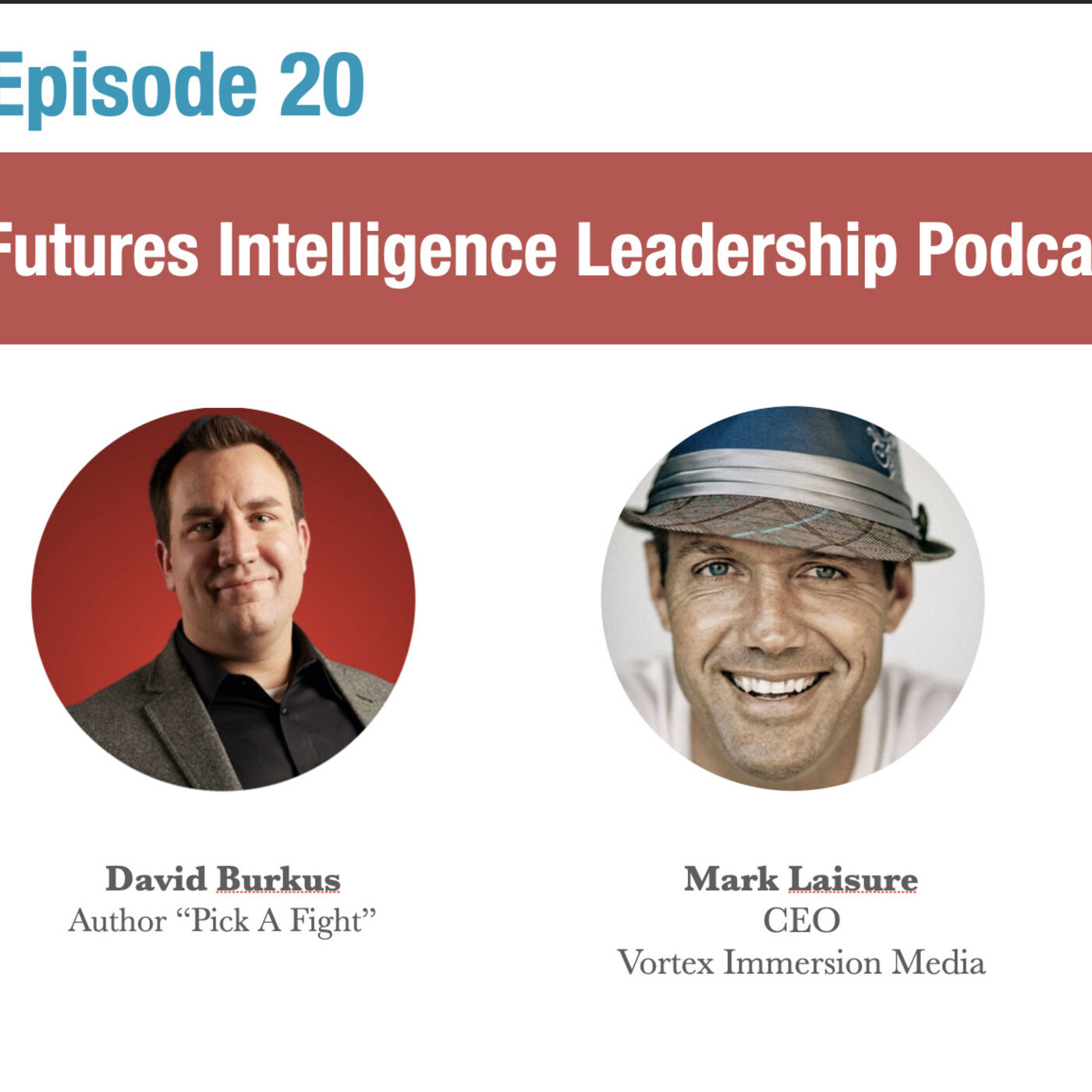 "Episode 20: Futures Intelligence Leadership Podcast with Mark Laisure and David Burkus.  psychological safety in change, The power of ""I don't know"", how to create collaborative visions of the future."