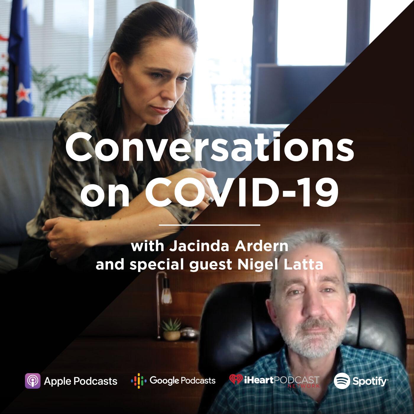 Prime Minister Jacinda Ardern talks with Nigel Latta