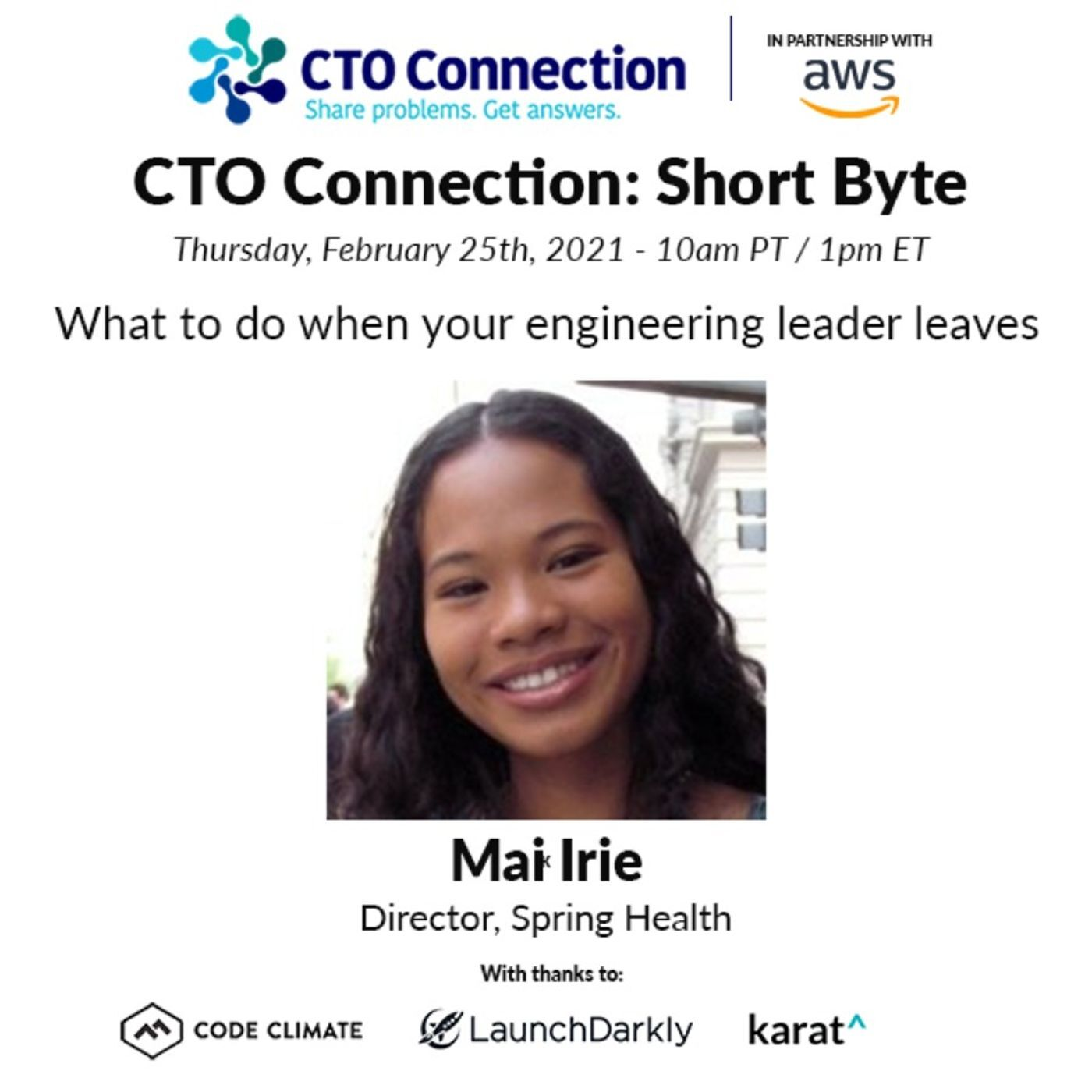 Short Byte: Mai Irie - What to do when your engineering leader leaves