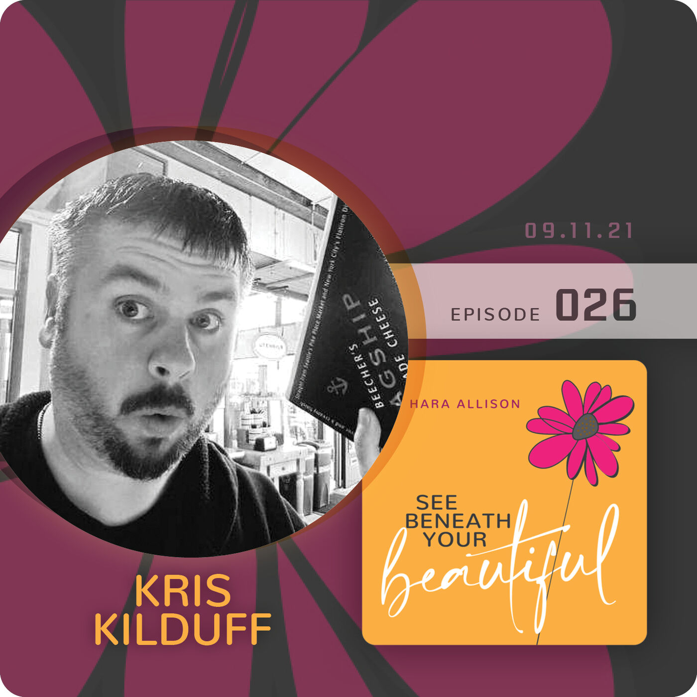 026. Kris Kilduff discusses marketing, food, pop culture and vintage toys; how his brain works; having an absent mom; being an artist, an extreme extrovert and an avid reader; and about how Mutley the dog runs his life
