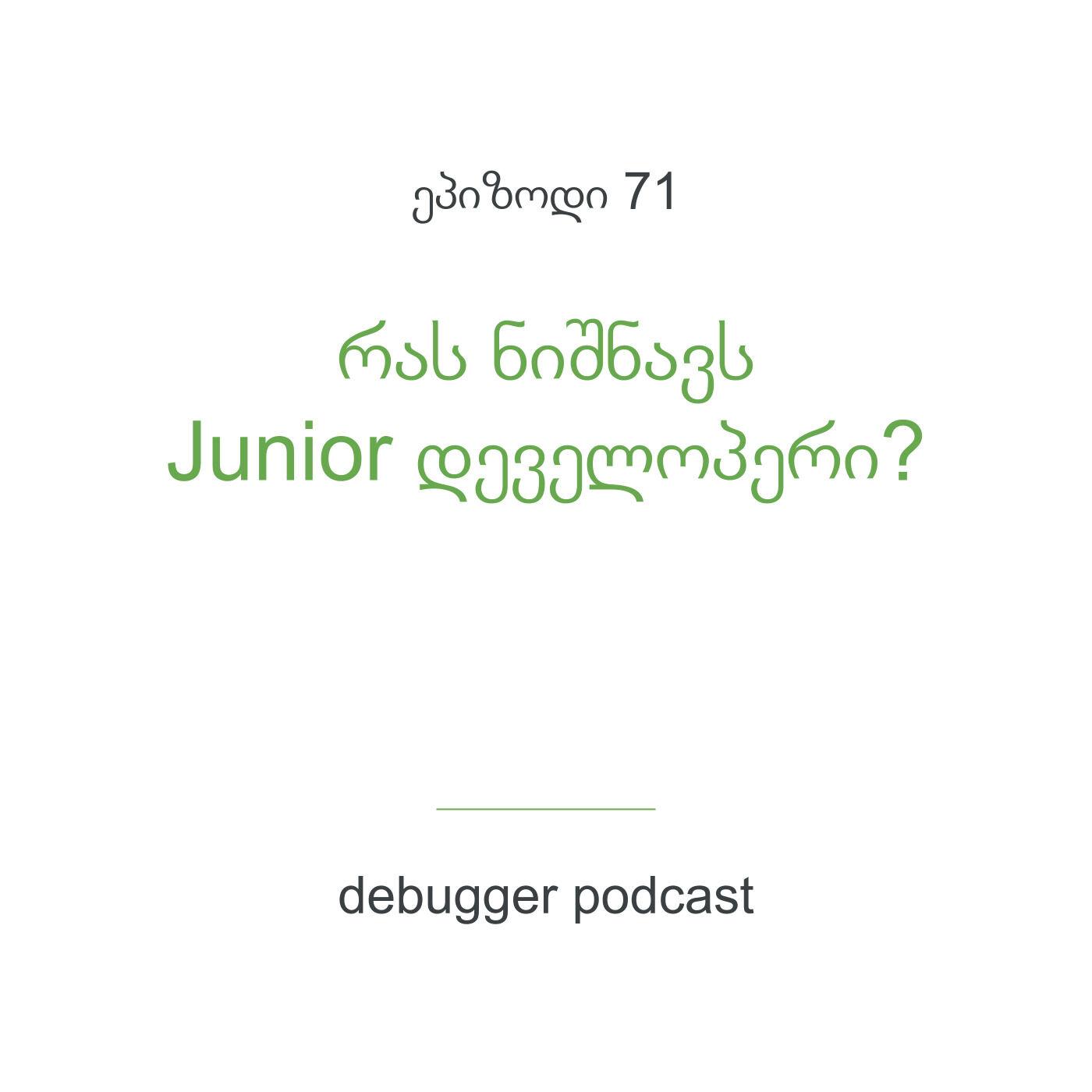 ეპ. 71 - რას ნიშნავს Junior დეველოპერი? (სერია განვსაზღვროთ დონეები)