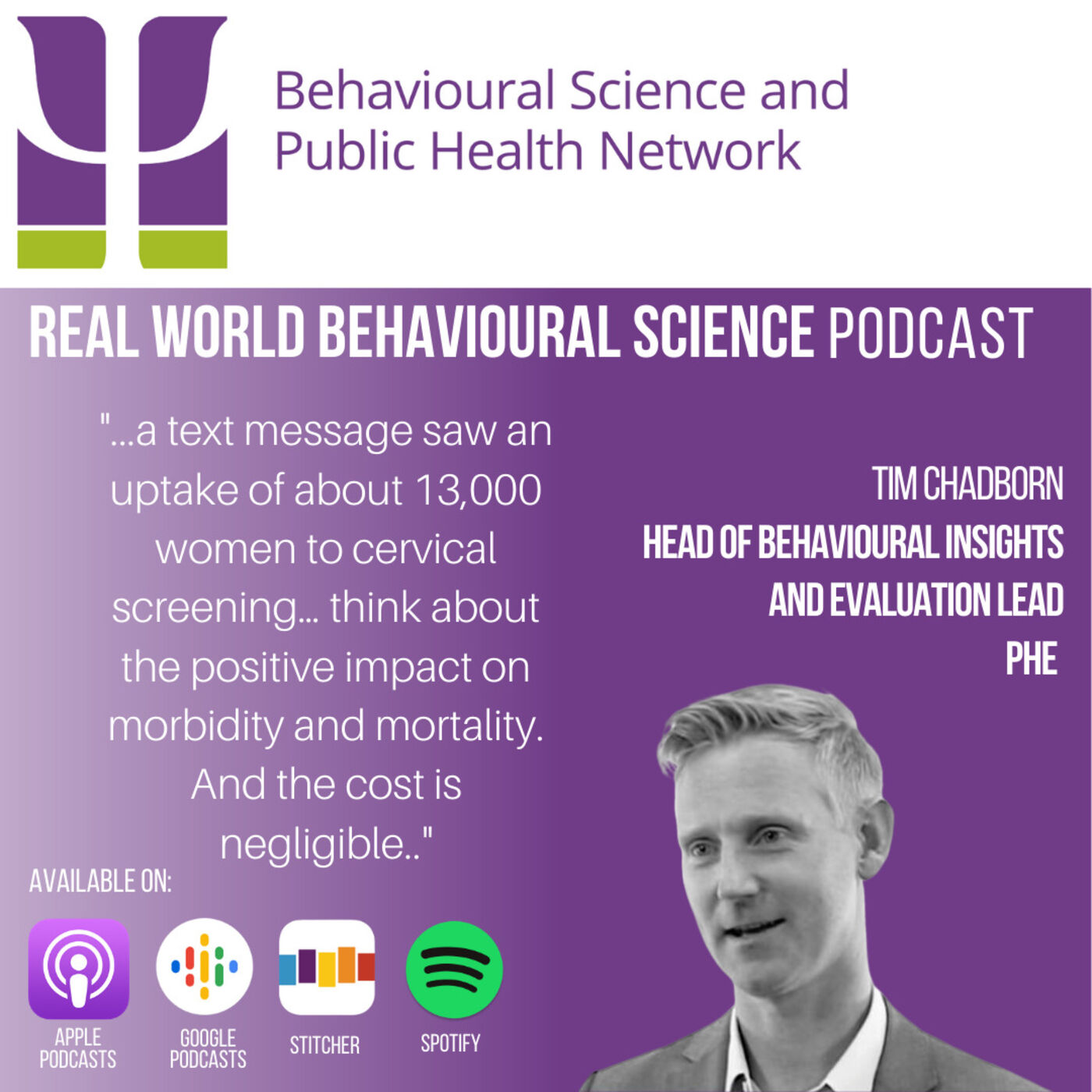 Dr Tim Chadborn (Head of Behavioural Insights & Evaluation Lead at Public Health England)