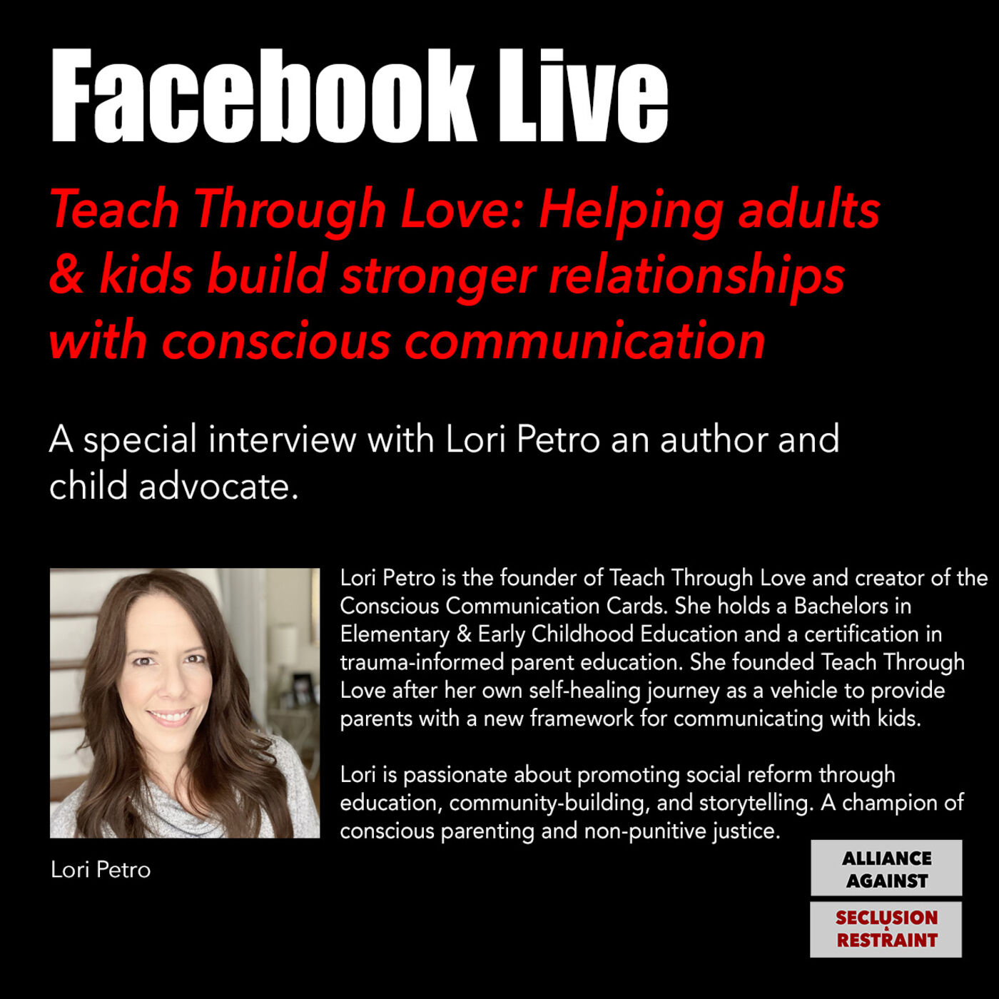 Teach Through Love: Helping adults & kids build stronger relationships with conscious communication