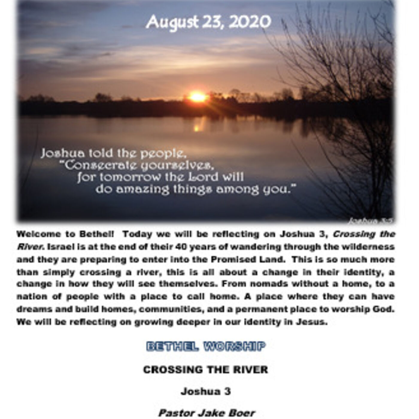 August 23/20  CROSSING THE RIVER