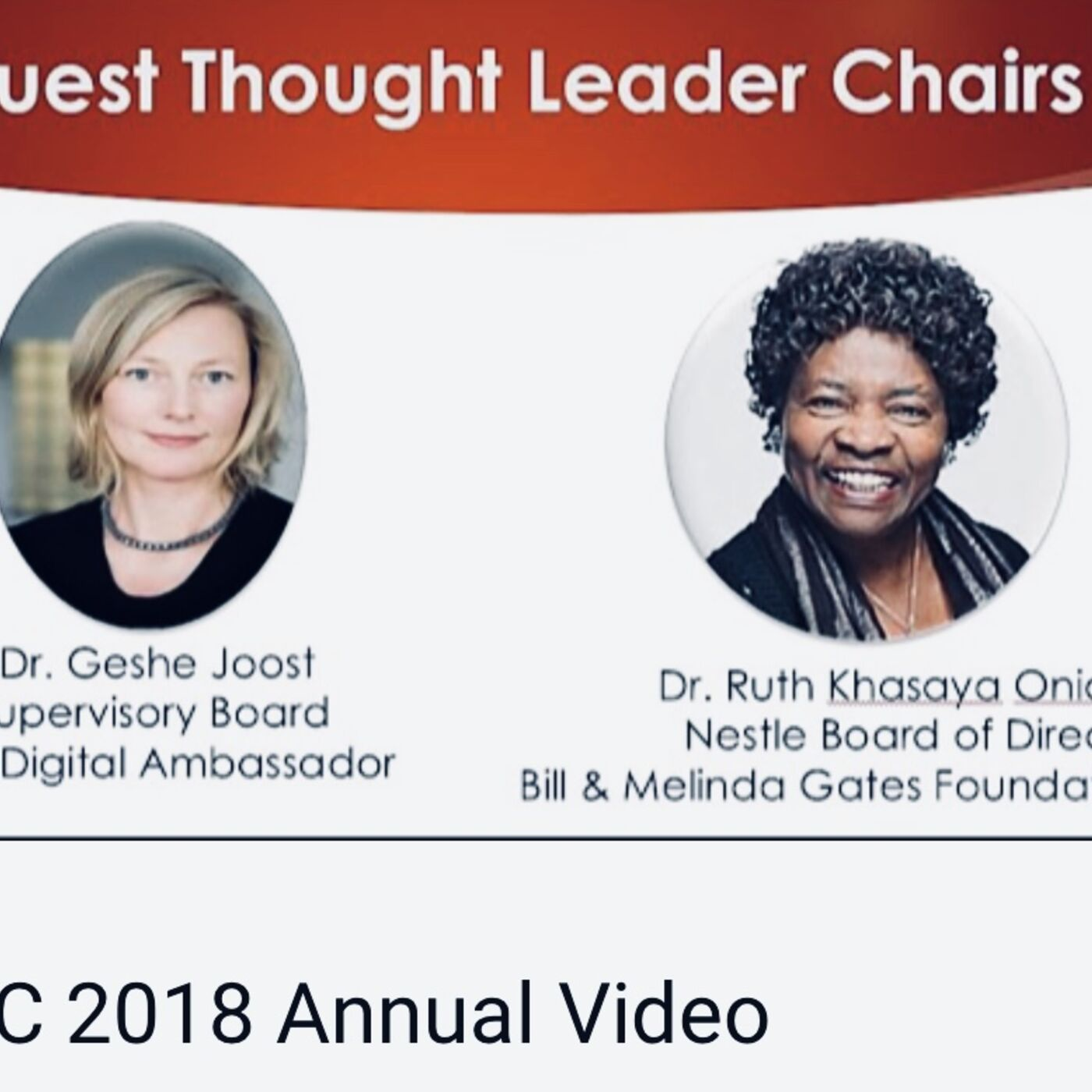 Guest Board Chairs, SAP's Supervisory Board Member Dr. Geshe Joost and Nestles Dr. Ruth Oniang'o