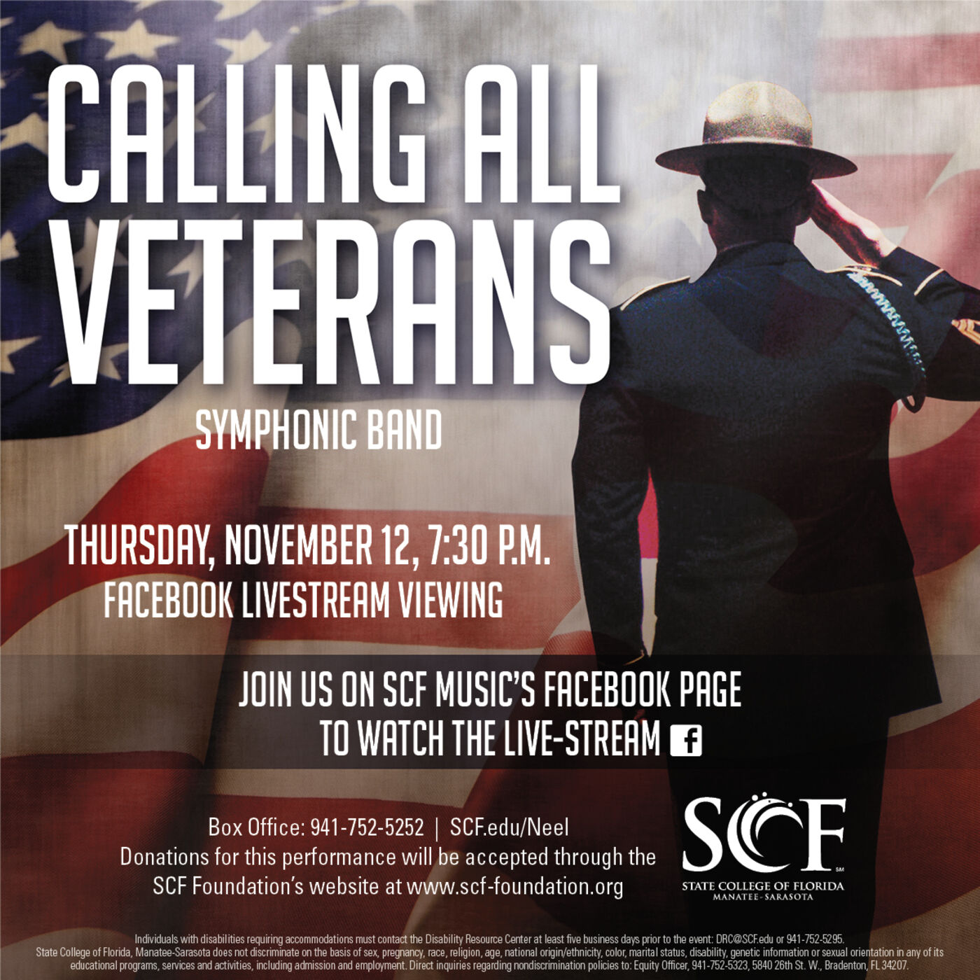 Calling All Veterans presented by the SCF Symphonic Band, Thursday, November 12, 7:30 PM-Facebook Livestream