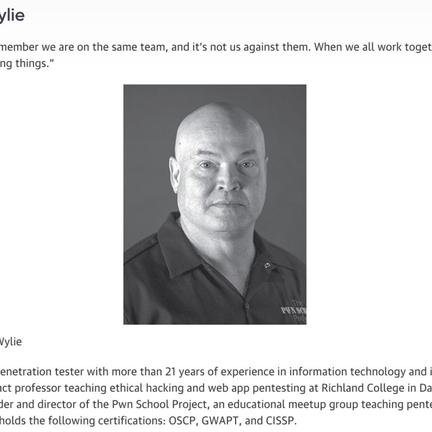 Phillip Wylie : PenTester, Professor, and Founder of The PwnSchool Project